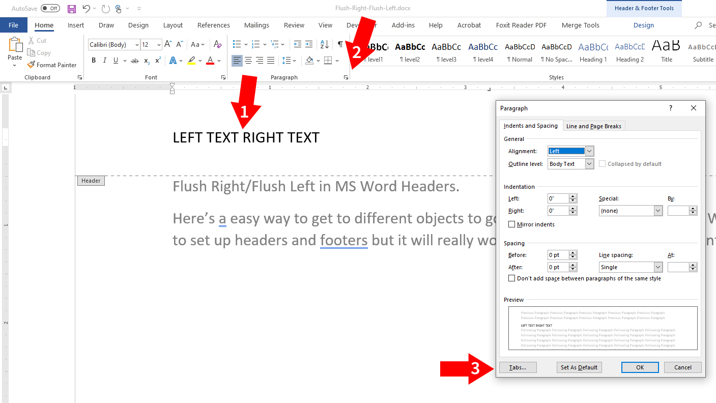 how to go flush left and flush right in MS Word