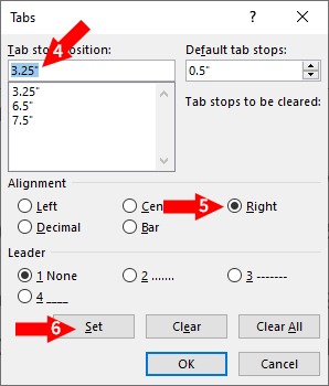 tab box in MS Word